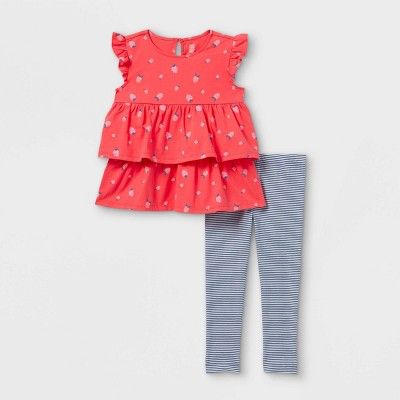 Toddler Girls' 2pc Strawberry Striped Tunic Tank Top and Bottom Set - Just One You® made by carter's Red/Navy