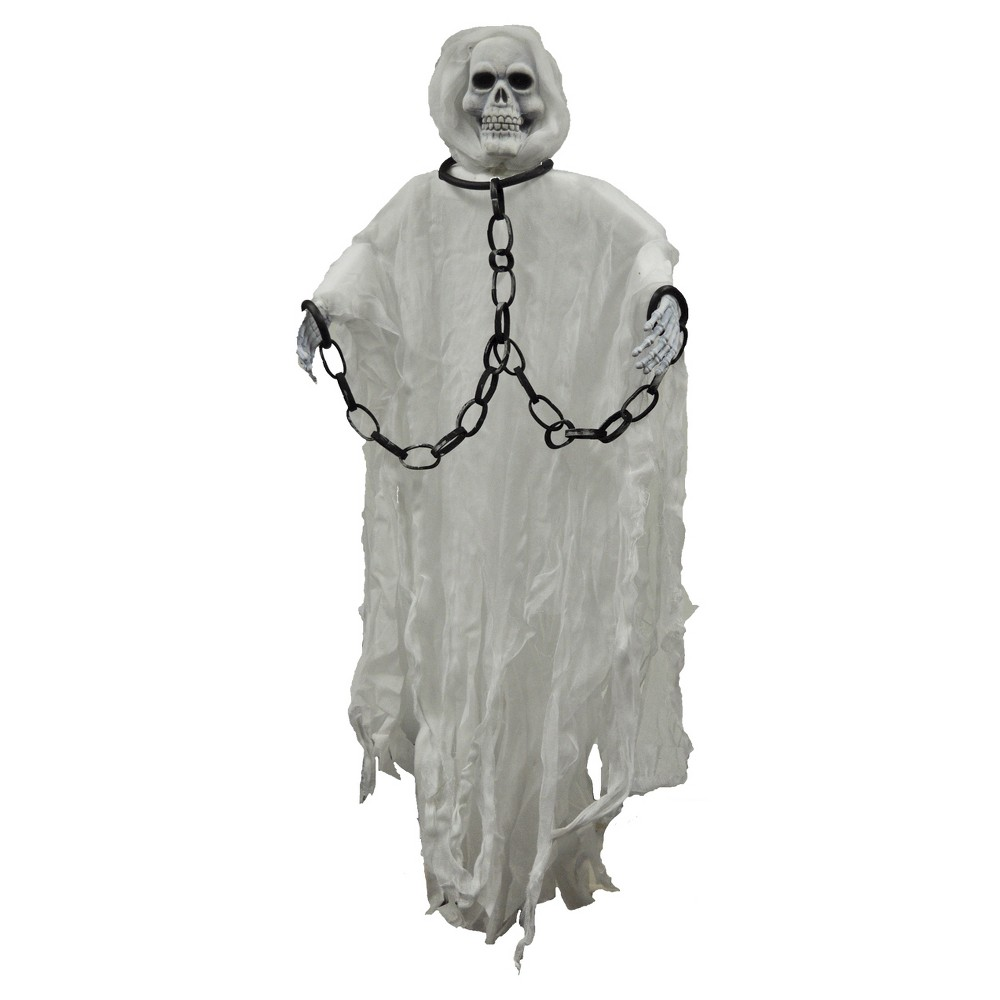Image of 5ft Halloween Hanging Skull Face Reaper, Gray