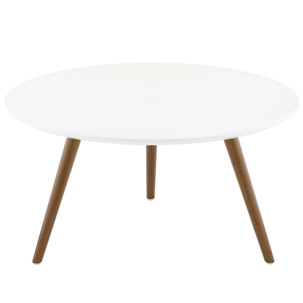 "Image of ""28"""" Lippa Round Wood Top Coffee Table with Tripod Base Walnut/White - Modway"""