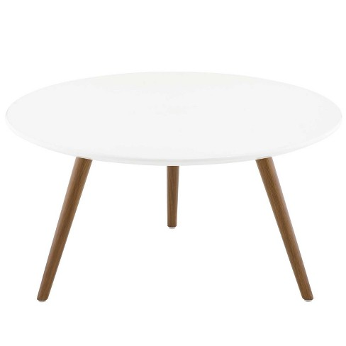 "28"" Lippa Round Wood Top Coffee Table with Tripod Base Walnut/White - Modway - image 1 of 4"