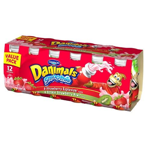 Dannon Danimals Strawberry Explosion and Strikin' Strawberry Kiwi Kids' Yogurt Smoothie Value Pack - 12pk/3.1oz - image 1 of 1