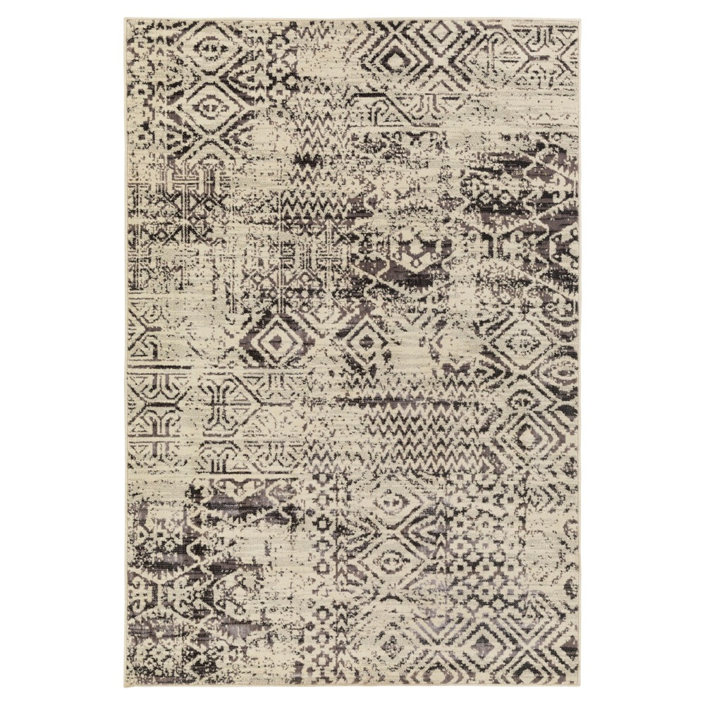 Light Gray Abstract Tufted Area Rug - (7'10