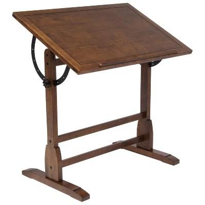 Studio Designs 36 x 24 Inch Vintage Drafting Writing Craft Table, Rustic Oak