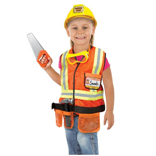 Melissa & Doug Construction Worker Role Play Costume Dress-Up Set (6pc), Adult Unisex, Size: Large, Gold/Orange/Yellow image number null