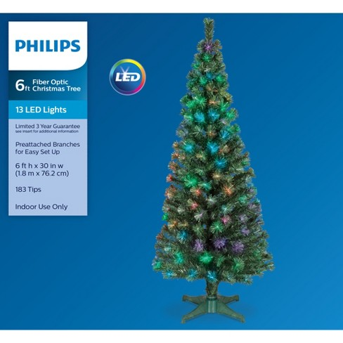 Philips 6ft Prelit Artificial Christmas Tree LED Fiber Optic Slim - Philips 6ft Prelit Artificial Christmas Tree LED... : Target