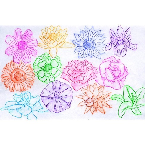 Roylco Flower Rubbing Plates, 4-1/2 x 6-1/2 Inches, set of 16 - image 1 of 1