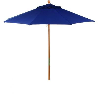 Oxford Garden 9 Ft. Octagonal Hardwood Patio Market Umbrella W/ Pulley - Sunbrella Canvas Navy - U9NV