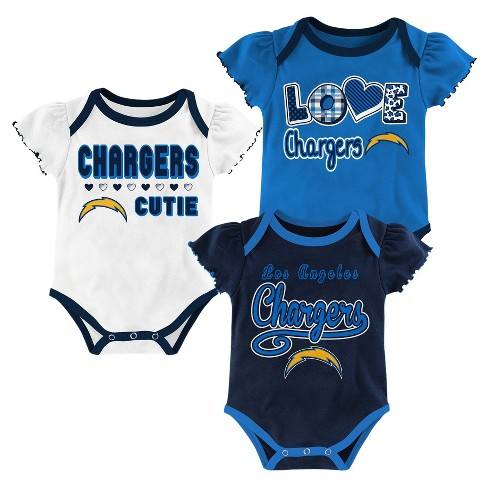 Los Angeles Chargers Baby Girls' 3pk Bodysuit Set - image 1 of 3