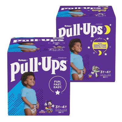 Pull-Ups Boys' Disposable Training Pants Size 3T-4T - 84ct + Pull-Ups Boys' Night-Time Disposable Training Pants - 60ct - Bundle