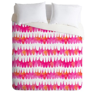 Betsy Olmsted Owl Feather Duvet Cover Set Pink - Deny Designs