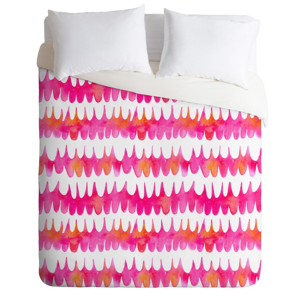 Twin/Twin XL Abstract Betsy Olmsted Owl Feather Duvet Cover Set Pink - Deny Designs
