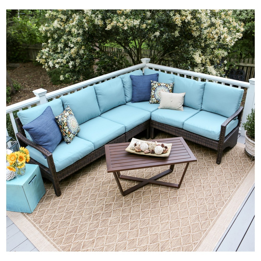 Augusta 5pc Wicker Corner Sectional - Blue - Leisure Made