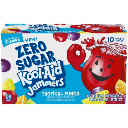 Kool-Aid Jammers Zero Sugar Tropical Punch - 10pk/6 fl oz Pouches - image 1 of 4
