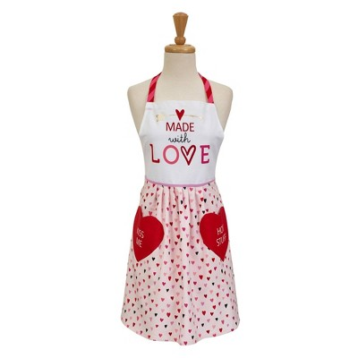 Cotton Made With Love Skirted Apron Red/Pink - Design Imports