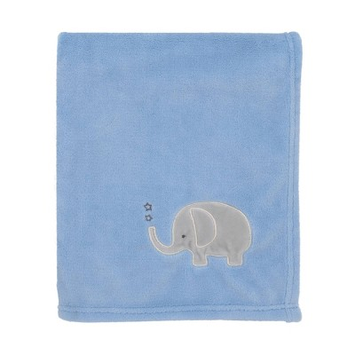 NoJo Little Love Light Blue with Gray Elephant Super Soft Baby Blanket