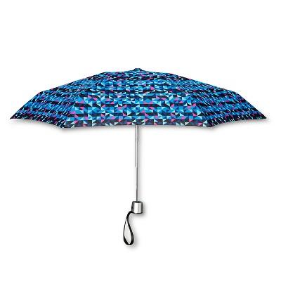 ShedRain Manual Compact Umbrella  - Blue Geo
