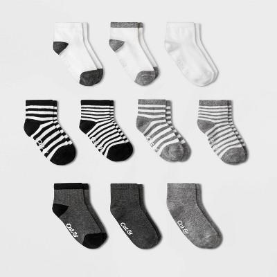 Toddler Boys' 10pk Ankle Socks - Cat & Jack™ Black/Gray