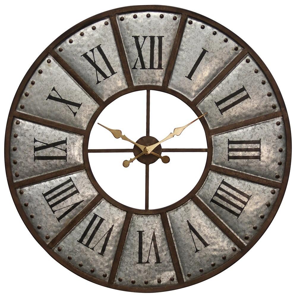 39.4 Galvanized Metal Frame & Nail Head Trim Wall Clock Silver Gray - StyleCraft