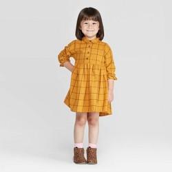 Toddler Girls' Grid Flannel Dress - art class™ Gold