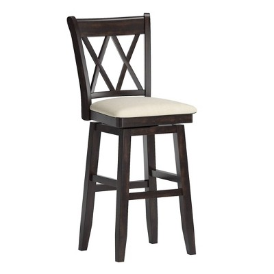 "29"" South Hill Double X Back Wood Swivel Height Barstool - Inspire Q"