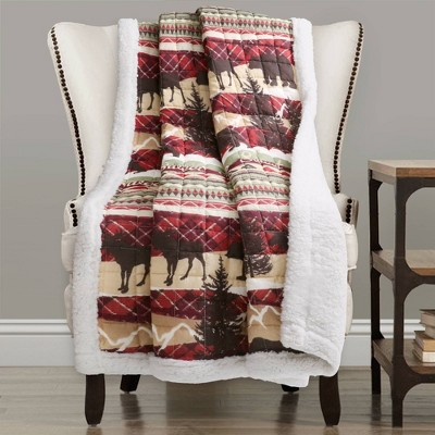"Lush Décor 50""x60"" Holiday Lodge Sherpa Throw Blanket Red/Brown"