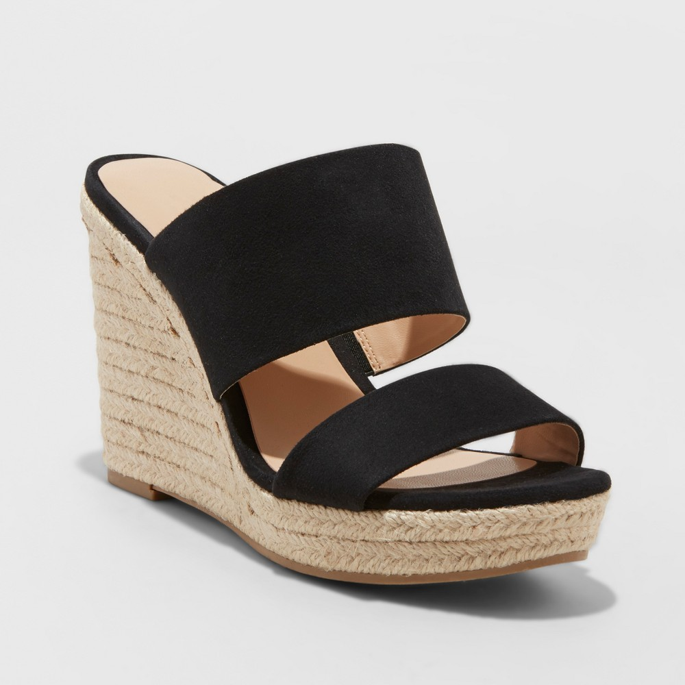 Women's Adelina Two Band Espadrille Slide Sandals - A New Day Black 9.5