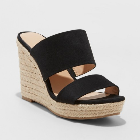 612e9dc21f4 Women s Adelina Two Band Espadrille Slide Sandals - A New Day™ Black 12    Target