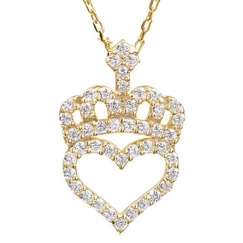 1/2 CT. T.W. Round-cut CZ Heart Crown Pave Set Necklace in Sterling Silver - Gold - image 1 of 2
