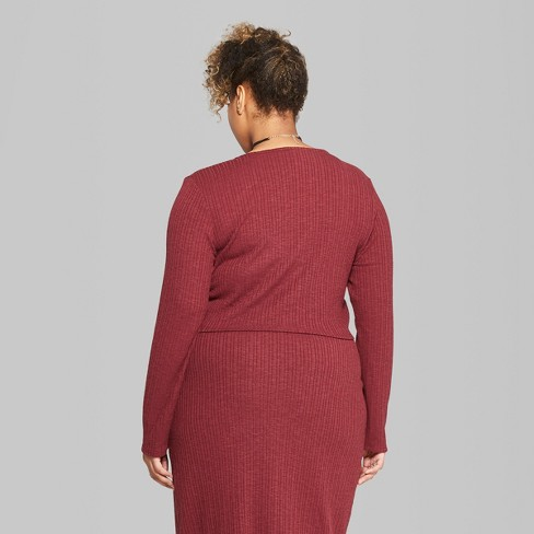 e02dd0deaf Women's Plus Size Long Sleeve Rib Henley Set Top - Wild Fable™ Burgundy.  Shop all Wild Fable