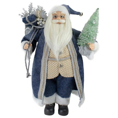 """Northlight 18"""" Standing Santa Christmas Figure with a Decorated Tree"""