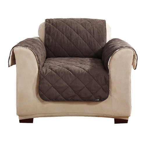 Sherpa Suede Chair Pet Cover Chocolate - Sure Fit - image 1 of 2