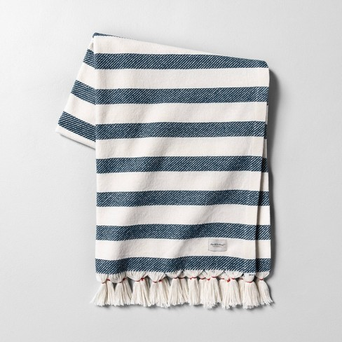 Outdoor Blanket Americana Blue Stripe with Fringe - Hearth & Hand™ with Magnolia - image 1 of 3