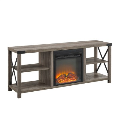 "Farmhouse Metal Fireplace Console TV Stand for TVs up to 65"" - Saracina Home"