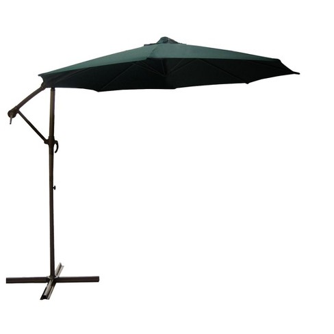 LB International 10' Solid Off-Set Outdoor Patio Umbrella with Crank and Tilt - Green - image 1 of 1