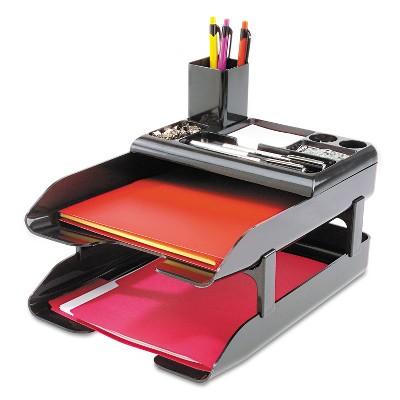 Deflecto Corporate Desk Tray Set Two Tier Plastic Metallic Black 583004
