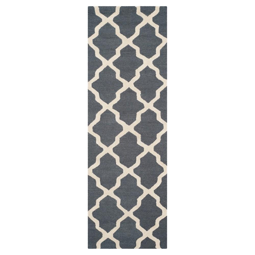 Maison Textured Rug - Dark Gray / Ivory (2'6X10') - Safavieh, Dark Gray/Ivory