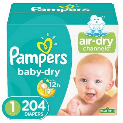 Pampers Baby Dry Disposable Diapers Enormous Pack - Size 1 (204ct)