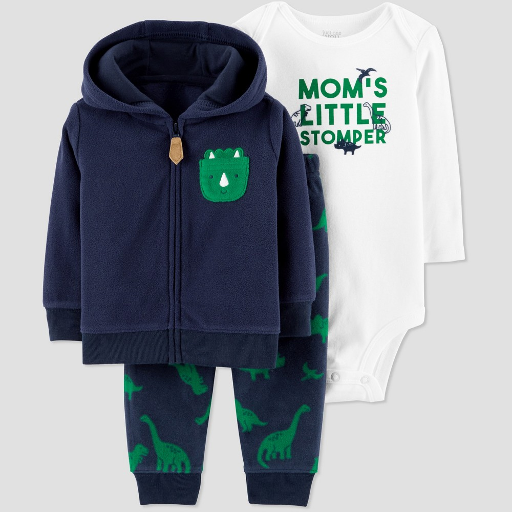 Baby Boys' 3pc Dino Cardigan Set - Just One You made by carter's Navy/Green 18M, Blue
