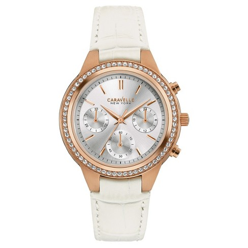 bc2cd395b Women's Caravelle New York by Bulova Crystal Leather Chronograph Watch  44L214 - White
