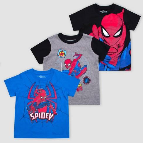 Toddler Boys' Disney Marvel Spider Man 3pk Short Sleeve T Shirts RedBlueBlack