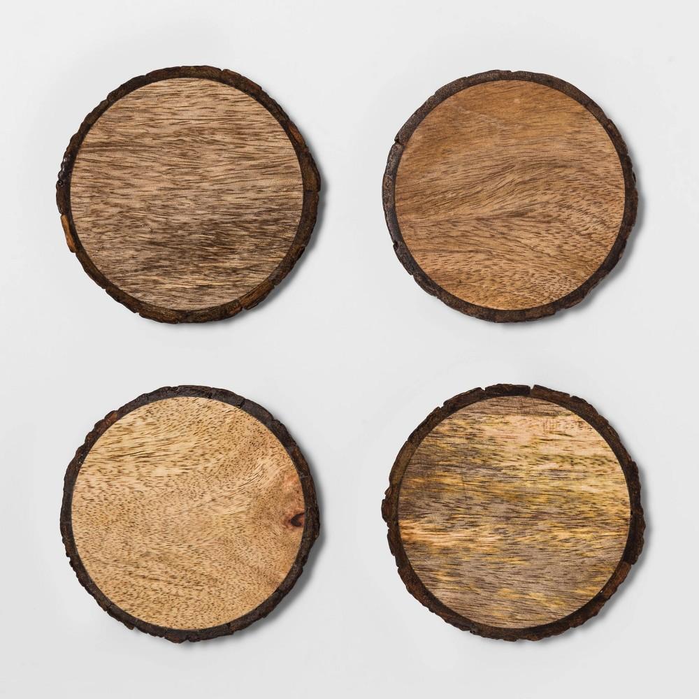 Image of 4pk Live Edge Wood Coasters Brown - Threshold , White