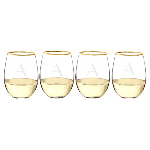 Cathy's Concepts 19.25oz 4pk Monogram Gold Rim Stemless Wine Glasses A-Z - image 1 of 10