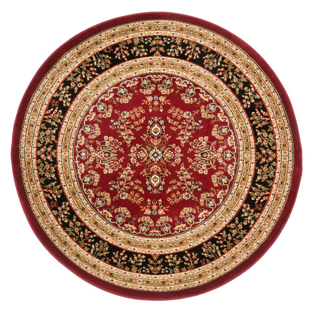 5 3 Floral Loomed Round Area Rug Red Black Safavieh