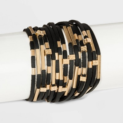 Simulated Leather and Tube Slider Magnetic Bracelet - Universal Thread™ Black