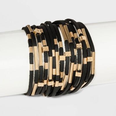 Simulated Leather and Tube Slider Magnetic Multi-Strand Bracelet - Universal Thread™ Black