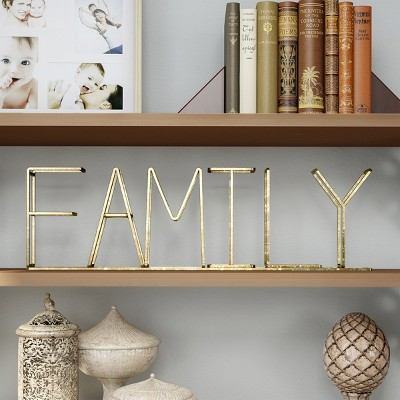 Family  Metal Cutout Free Standing Table Top Sign Gold - Lavish Home