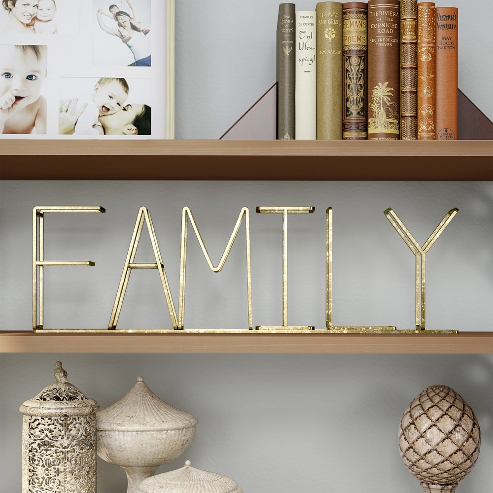 """Image of """"""""""""Family"""""""" Metal Cutout Free Standing Table Top Sign Gold - Lavish Home"""""""