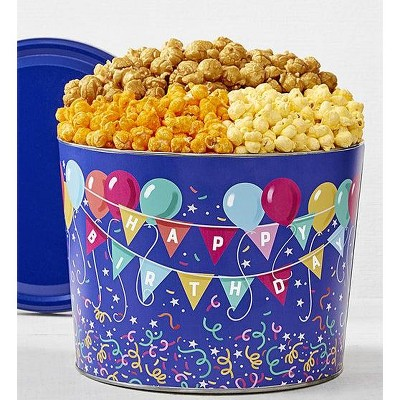 The Popcorn Factory Gift Tin, Birthday Balloon, 2 Gallons (Robust Cheddar, Butter, Caramel)
