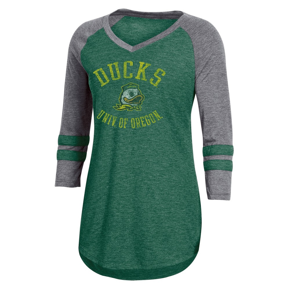 NCAA Women's 3/4 Sleeve V-Neck T-Shirt Oregon Ducks - L, Multicolored