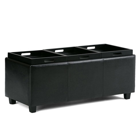 Avalon Faux Leather Storage Ottoman With Three Trays Midnight Black Simpli Home All